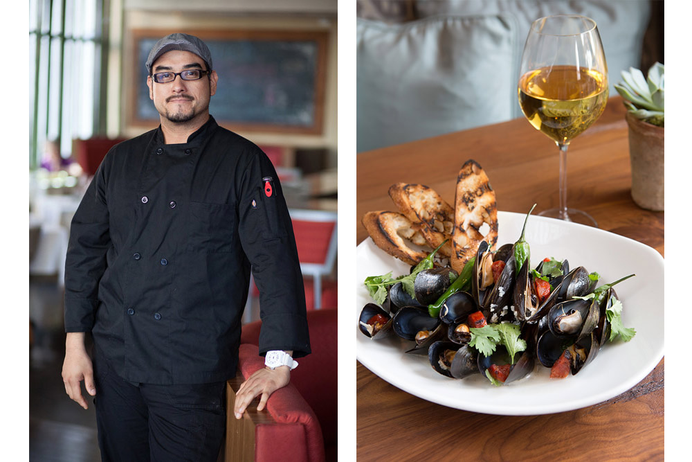 chef portrait and mussels