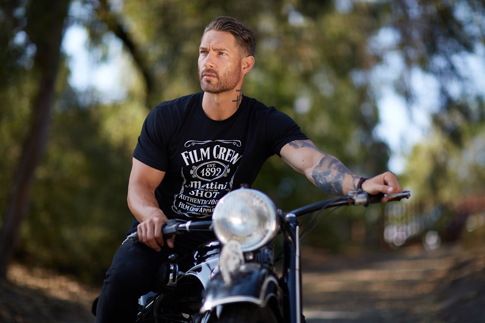 model on motorcycle