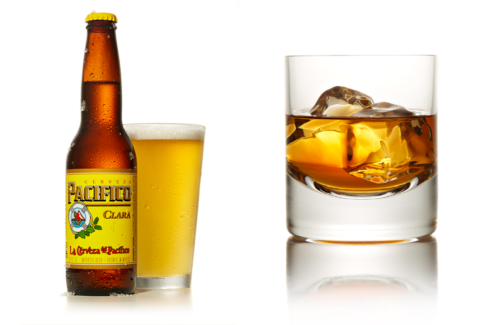 beer and whiskey on the rocks