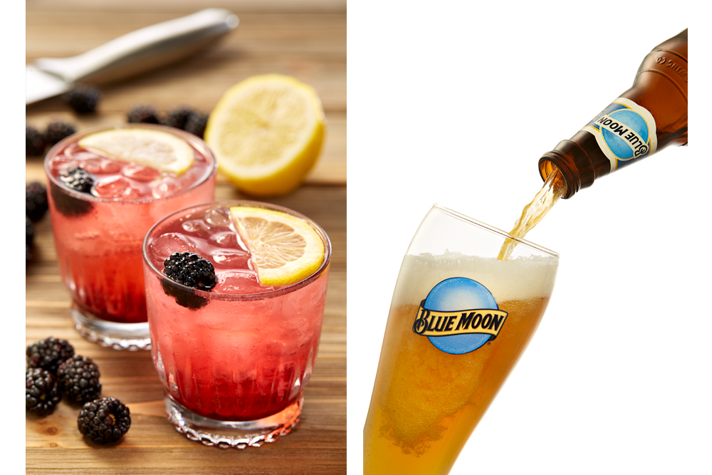 Blue Moon beer pour